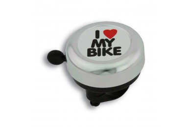 Велозвонок Green Cycle GBL-251 I love my bike cтальной белый