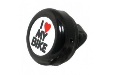 Велозвонок Green Cycle GBL-251 I love my bike cтальной черный